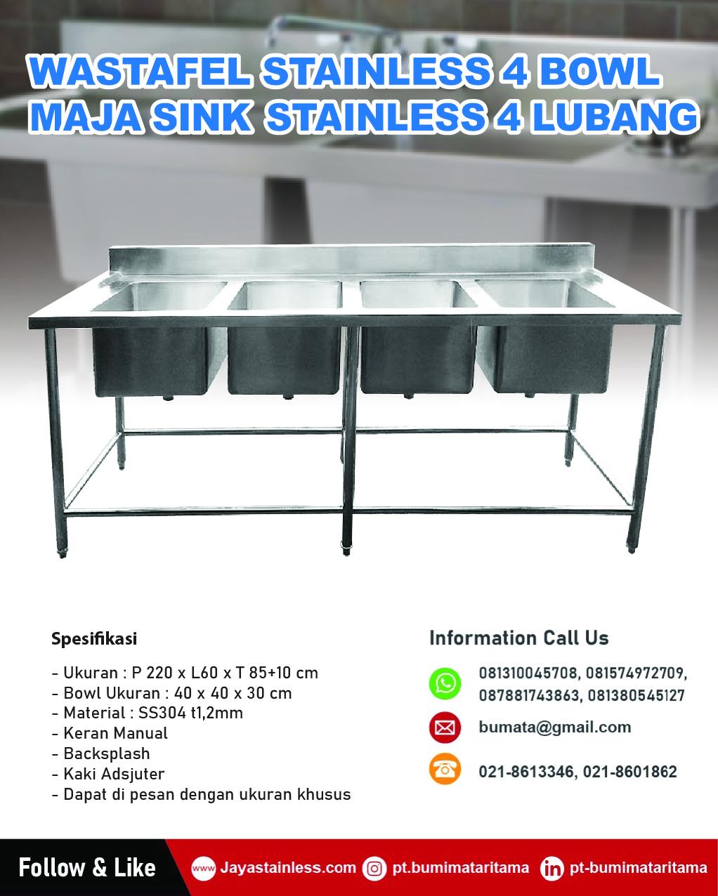 Meja sink stainless 4 mangkuk cuci - Maja bowl sink 4 lubang stainless