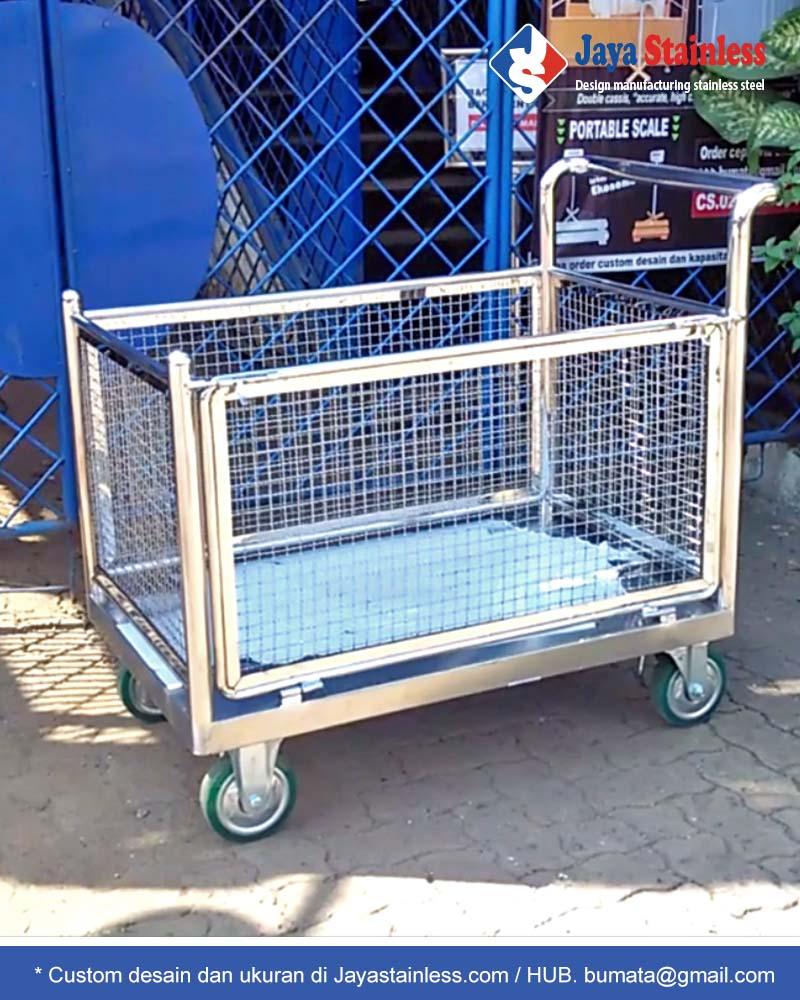 Trolley barang pagar jaring stainless – troli keranjang