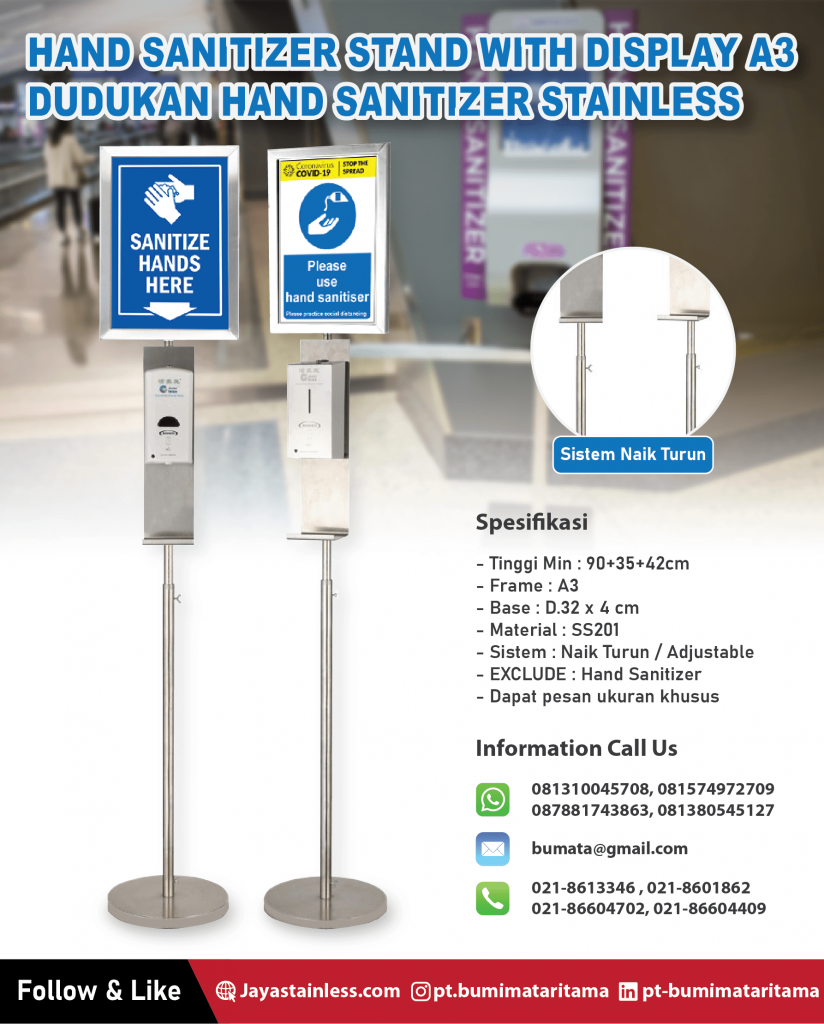 Dudukan Hand Sanitizer Stainless – Hand sanitizer stand with display A3