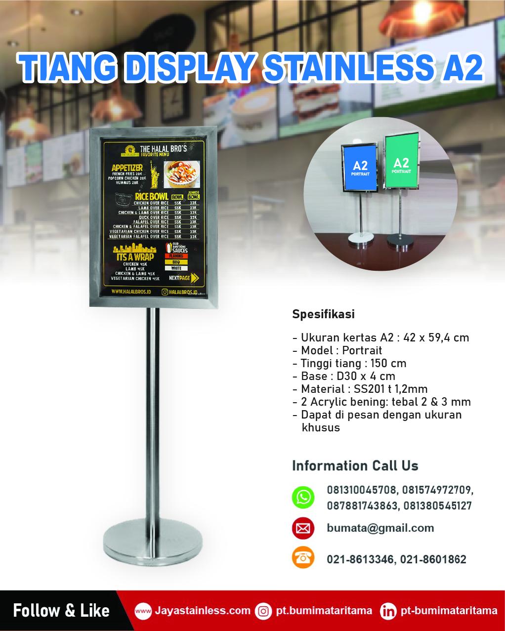 Tiang display stainless kertas A2