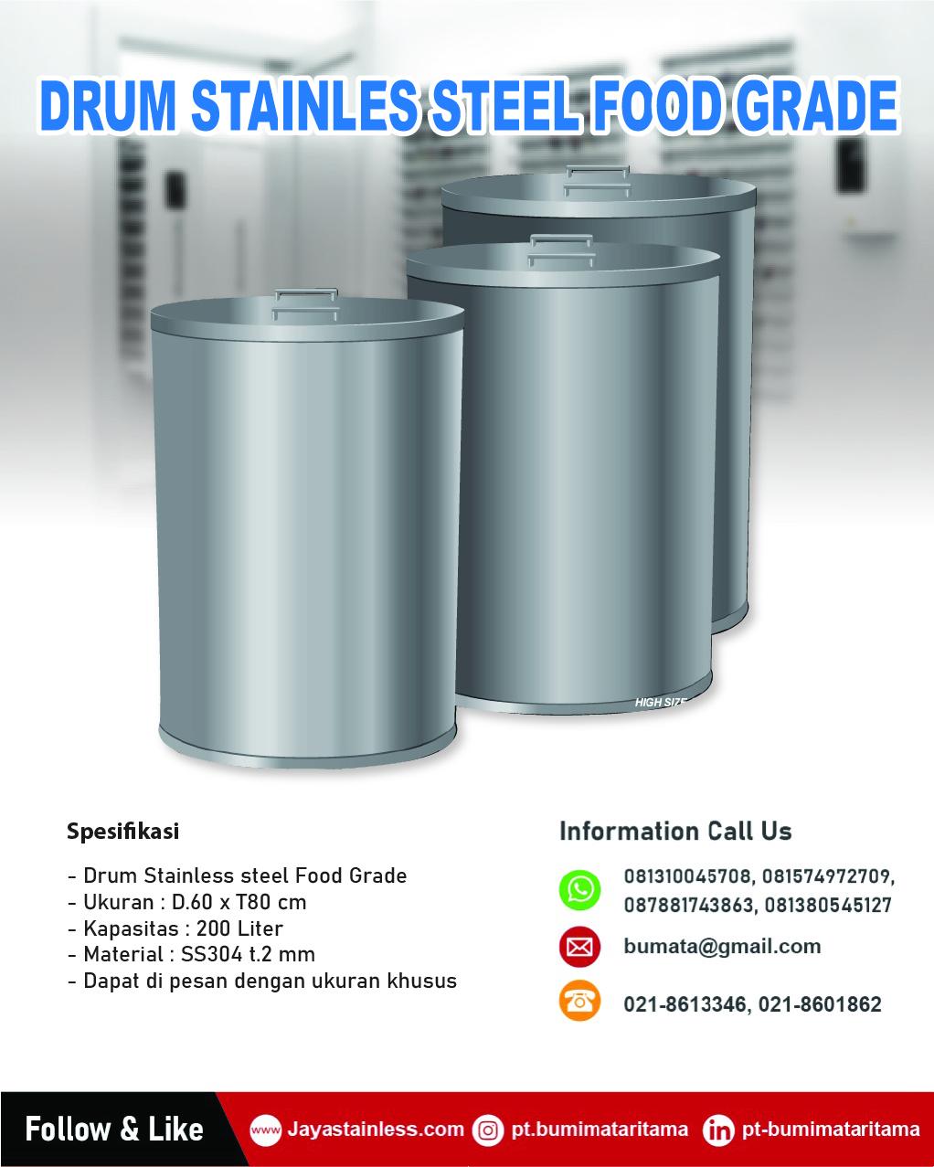 Drum stainless food grade untuk makanan & minuman