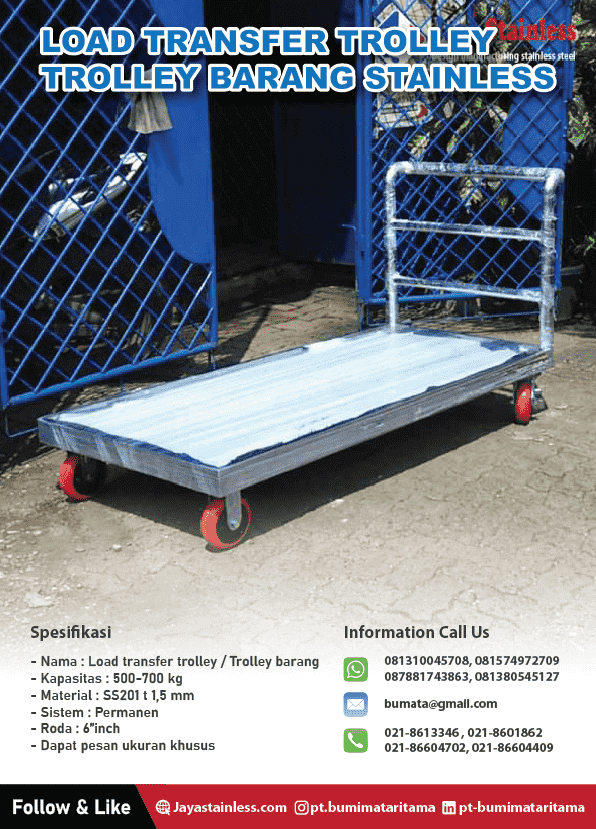Katalog Trolley barang stainless - Load transfer trolley Jumbo