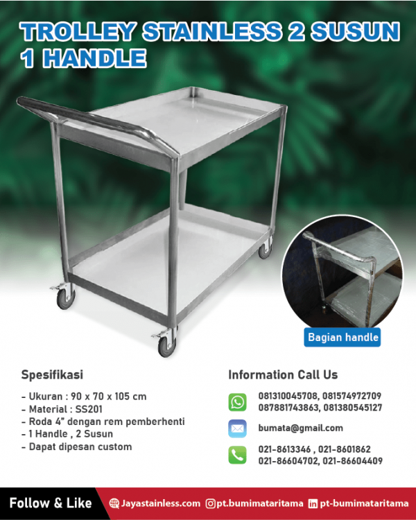 Trolley stainless 2 susun 1 handle