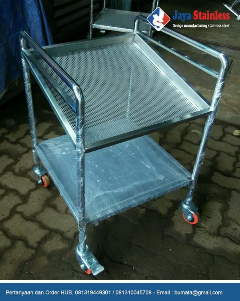 Trolley barang stainless 2 susun – Trolley perlengkapan kerja engineering