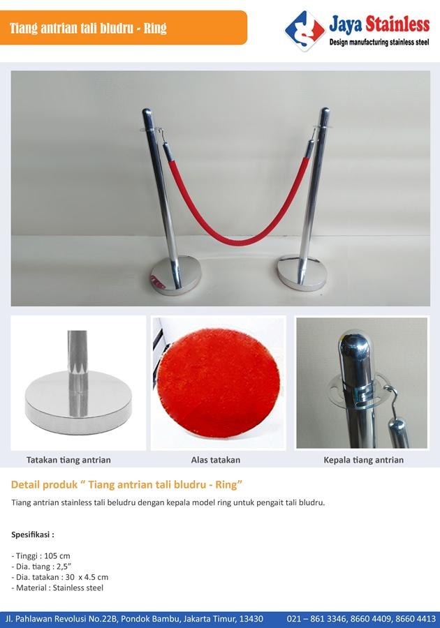 Tiang antrian stainless tali beludru kepala oval dengan sign frame portable