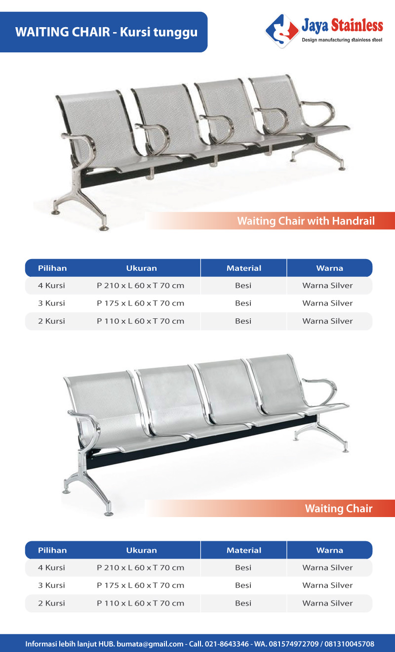 Waiting chair stainless & besi