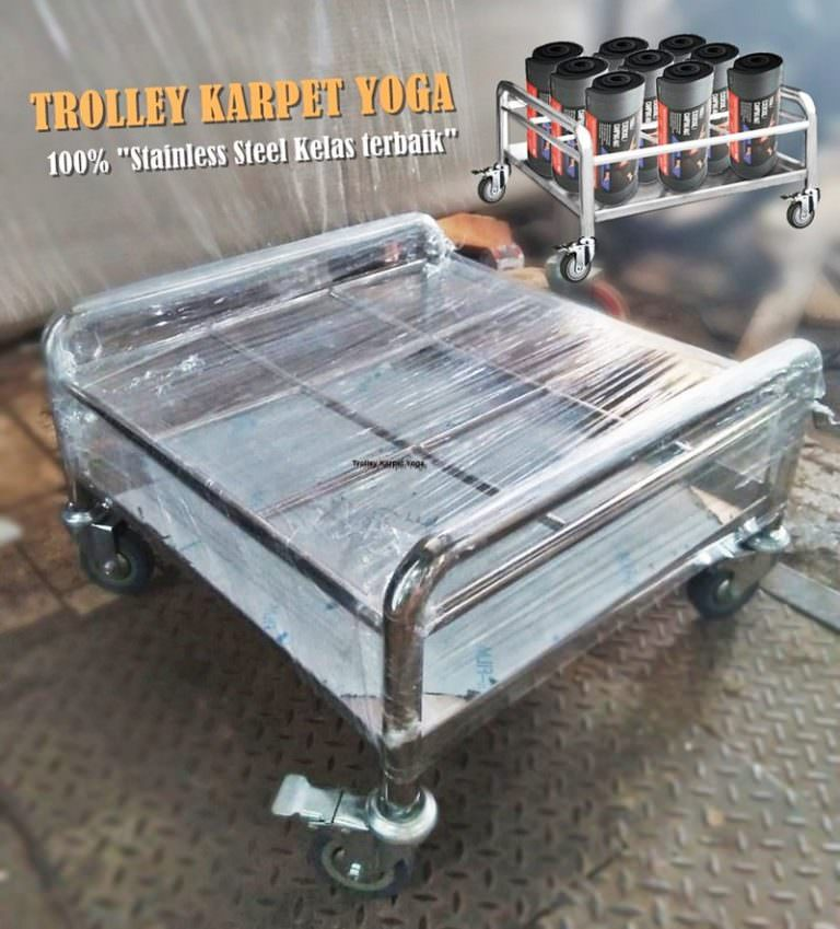 Trolley karpet yoga stainless steel yang dipesan dengan desain custom