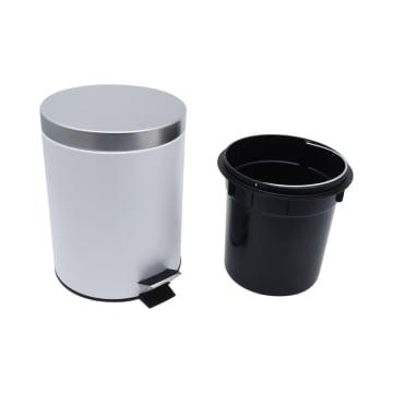Tempat Sampah Stainless Round – Putih 5 Liter