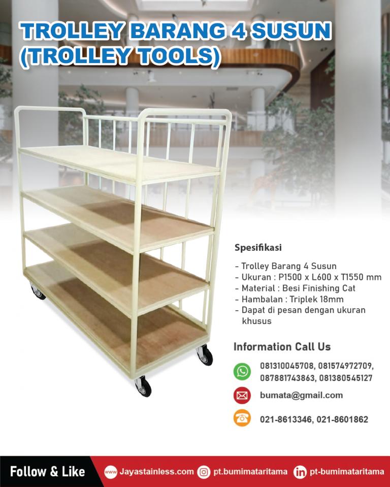 Trolley barang besi 4 level kombinasi top rack kayu