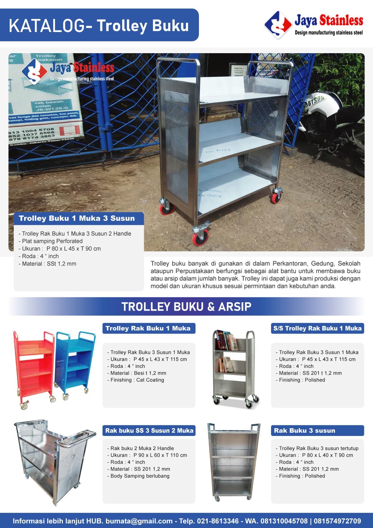Katalog Trolley Buku dan Arsip JAYASTAINLESS