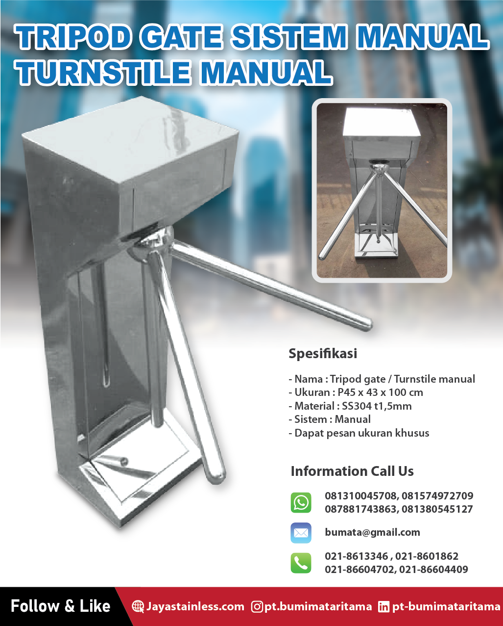 Tripod gate stainless sistem manual