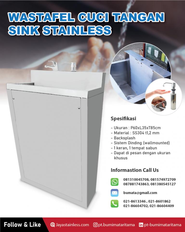 Wastafel cuci tangan – Hand Sink stainless (Keran & Tempat Sabun)