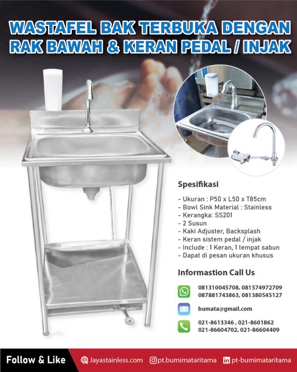 Wastafel stainless 1 lubang Keran injak / Wastafel portable