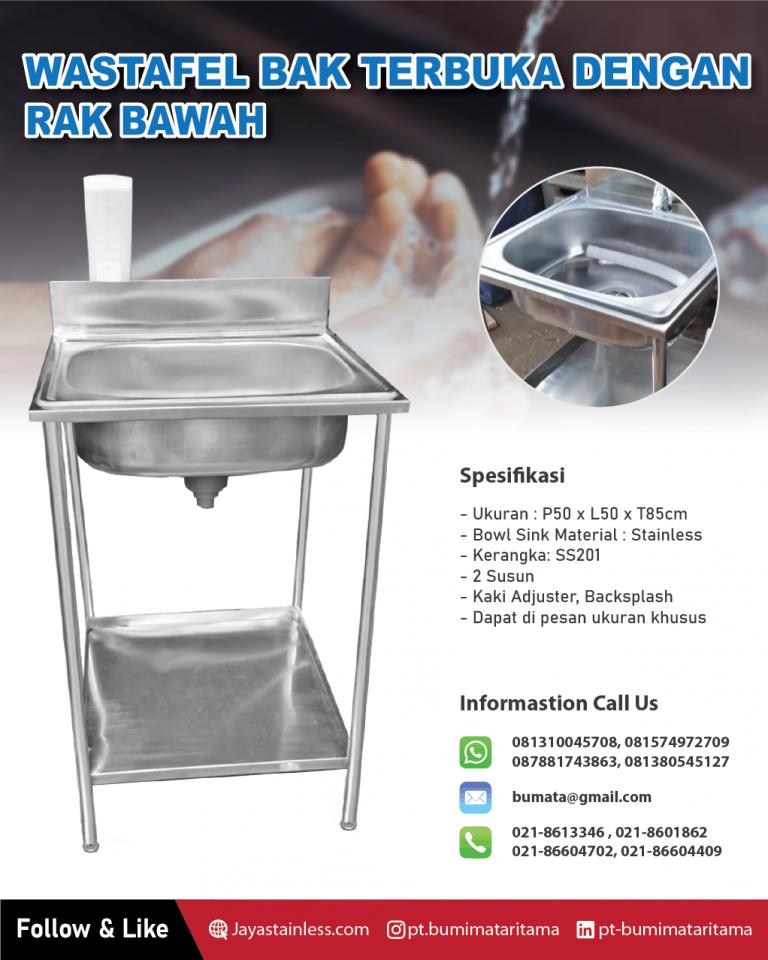 Wastafel cuci tangan – Wastafel bak terbuka dengan rak bawah