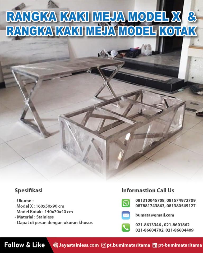 Rangka kaki meja model X dan Rangka kaki meja model kotak
