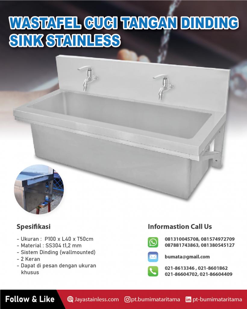 Wastafel cuci tangan dinding - Hand sink stainless 2 Keran