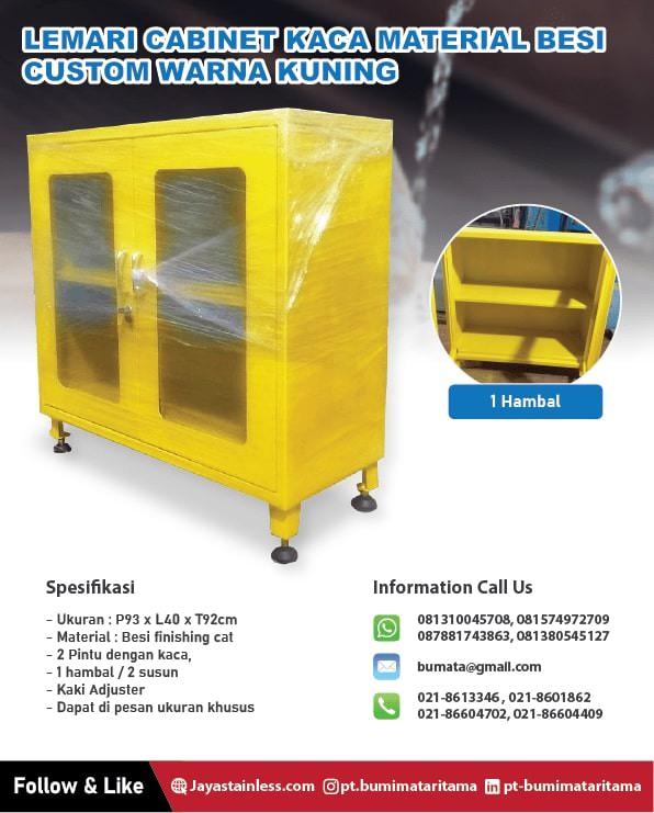Lemari cabinet kaca material besi custom warna kuning