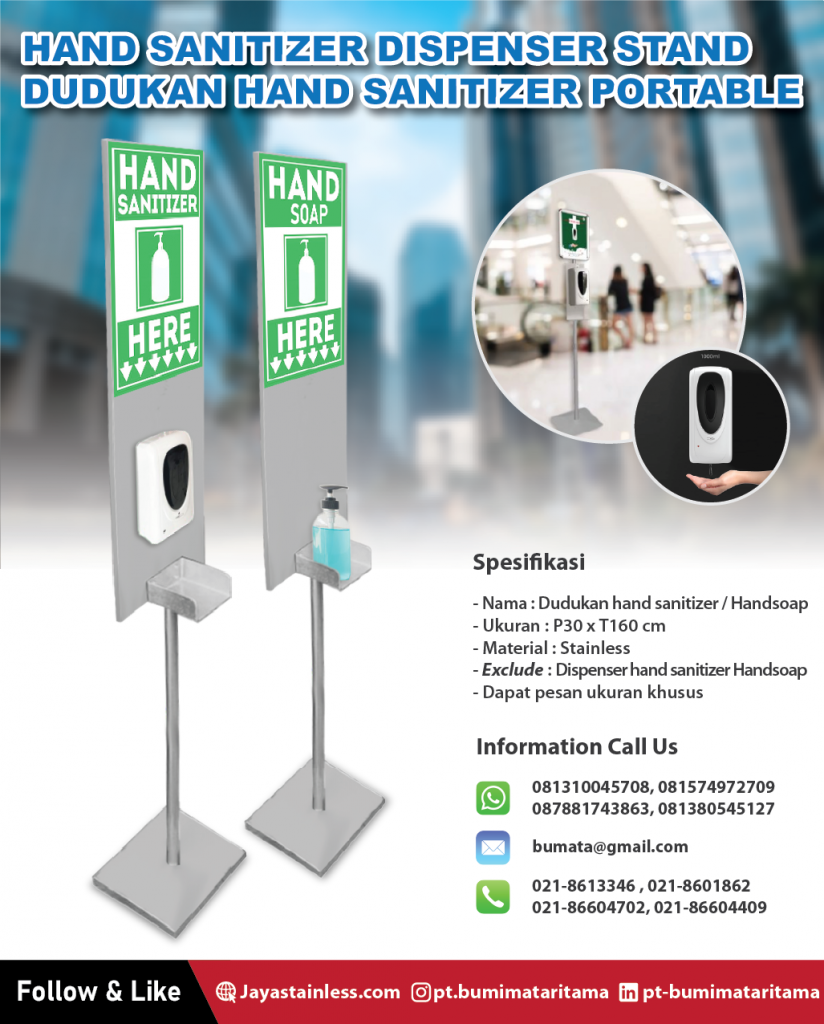 Dudukan Hand Sanitizer Stainless/Hand Soap Portable – Hand sanitizer stand