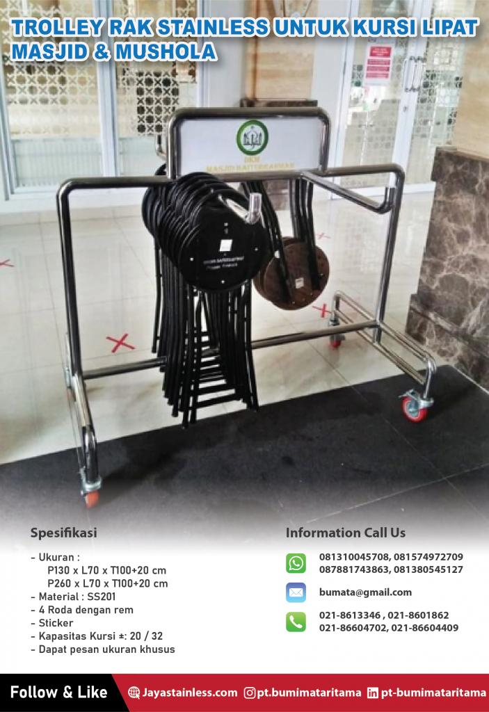 Trolley rak stainless untuk simpan kursi lipat