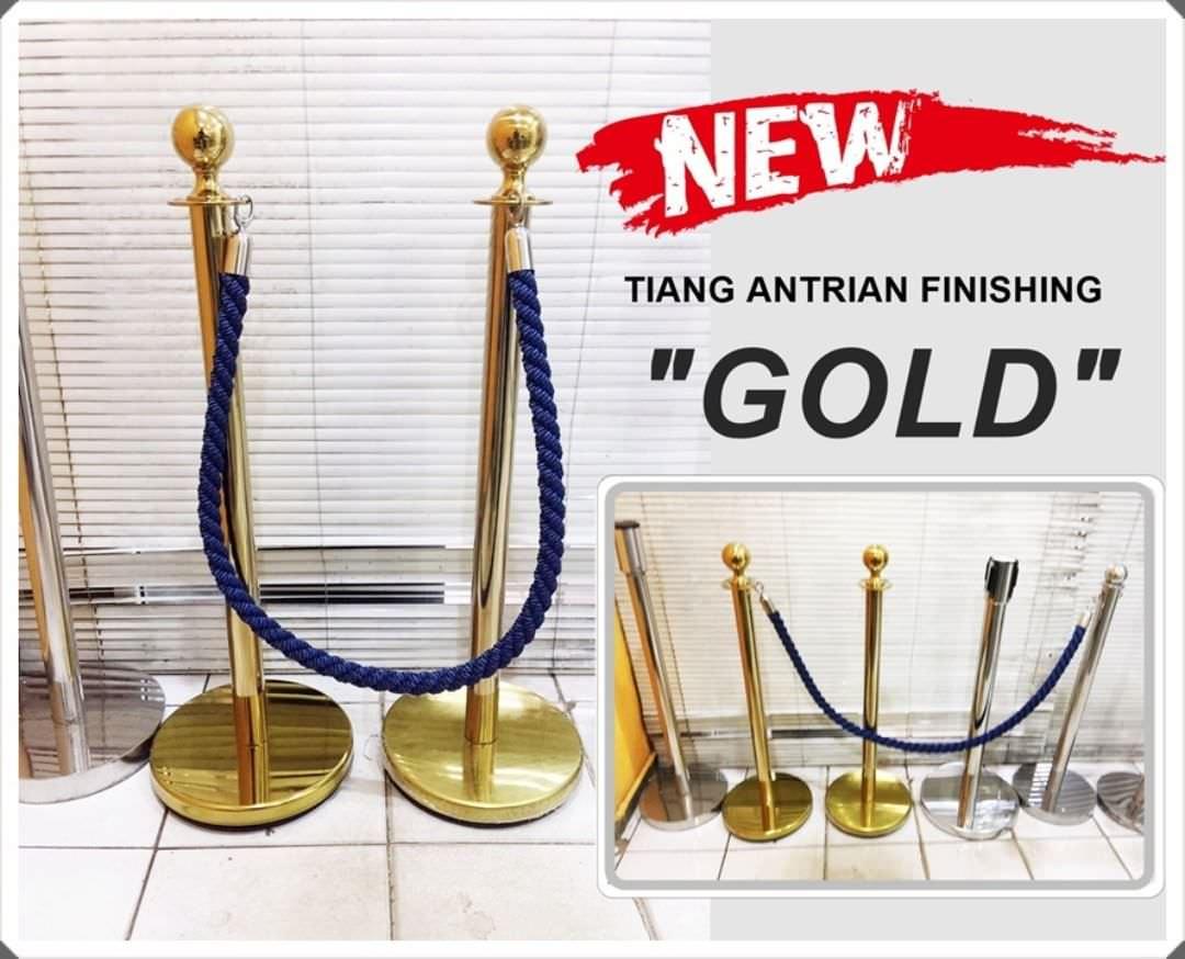 Tiang antrian tali beludru warna Gold / Emas