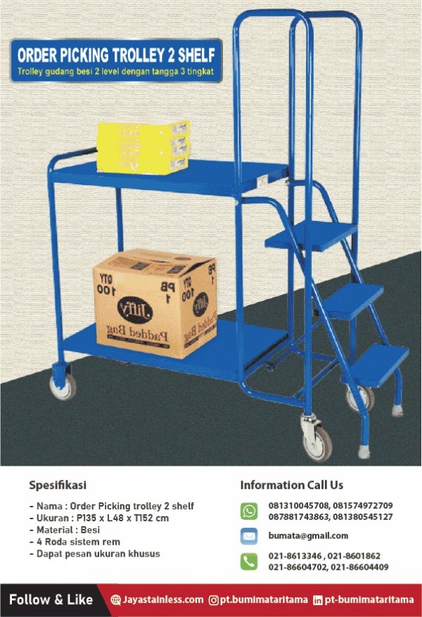 Order picking trolley with step (trolley gudang)