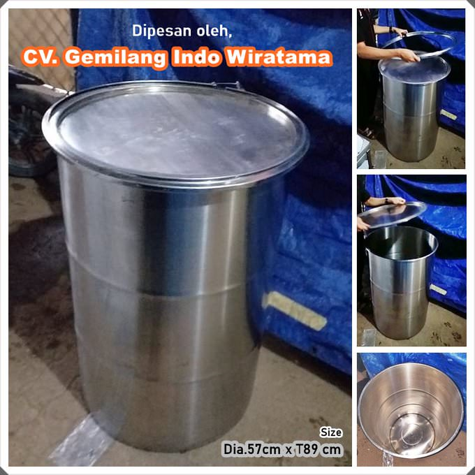 Drum stainless food grade + Tutup