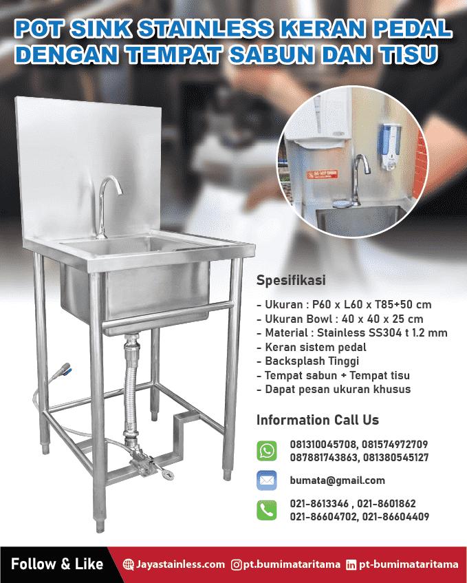 pot sink stainless keran pedal dengan tempat sabun dan tisu