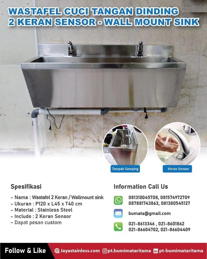 Wastafel cuci tangan dinding 2 Keran Sensor - Wall mount sink