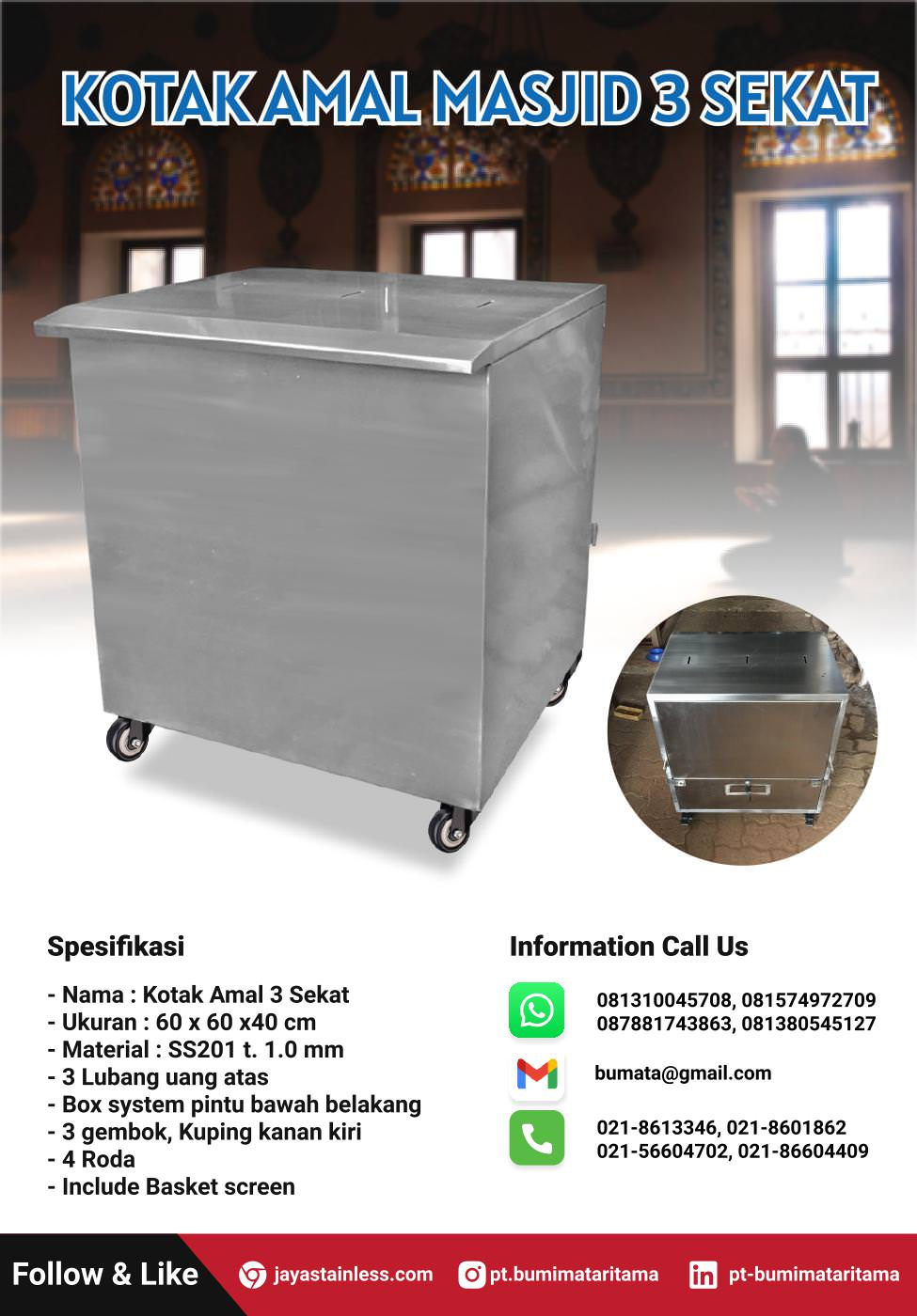 Kotak Amal Masjid 3 Sekat