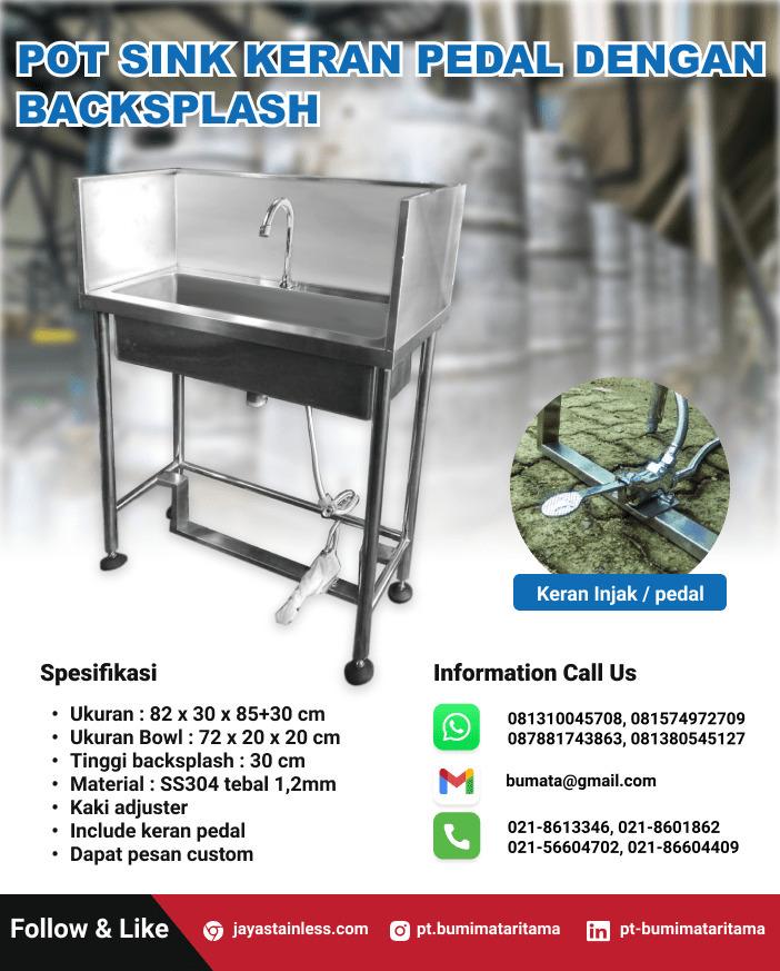 Pot sink stainless keran pedal dengan backsplash