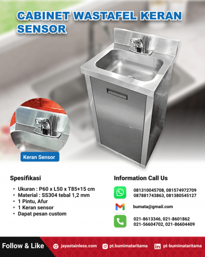 Cabinet wastafel stainless keran sensor